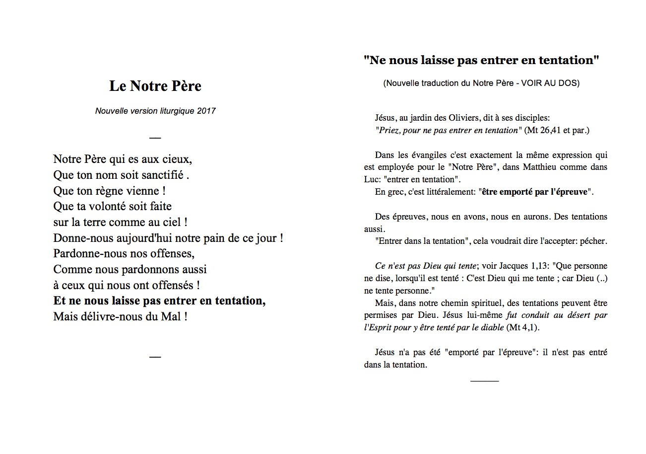Favori Un « flyer » expliquant le nouveau Notre Père Philippe Lestang, le  NJ78
